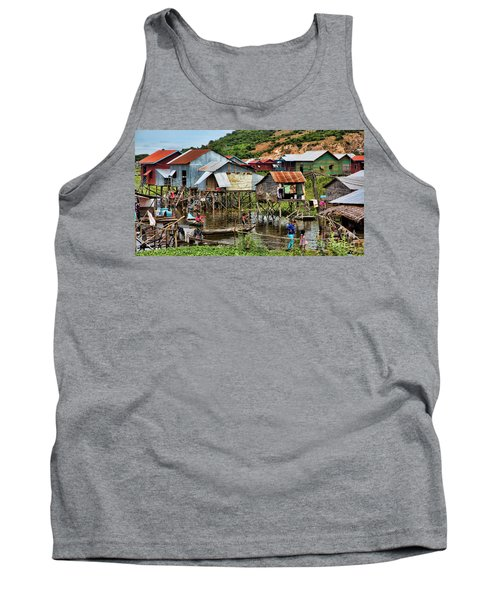 Tonle Sap Boat Village Cambodia Tank Top by Chuck Kuhn