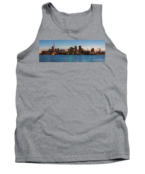 Tank Top featuring the photograph Toronto Skyline At Dusk Panoramic by Adam Romanowicz
