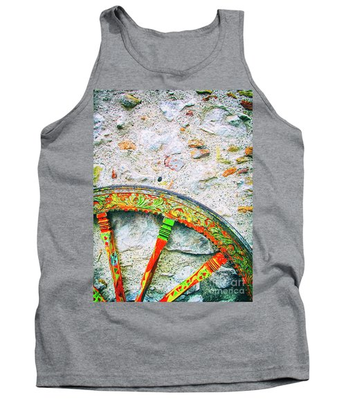 Tank Top featuring the photograph Traditional Sicilian Cart Wheel Detail by Silvia Ganora