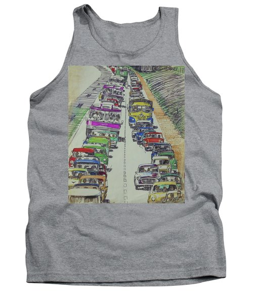Tank Top featuring the drawing Traffic 1960s. by Mike Jeffries