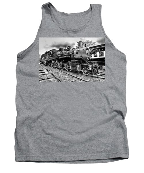 Train - Steam Engine Locomotive 385 In Black And White Tank Top by Paul Ward