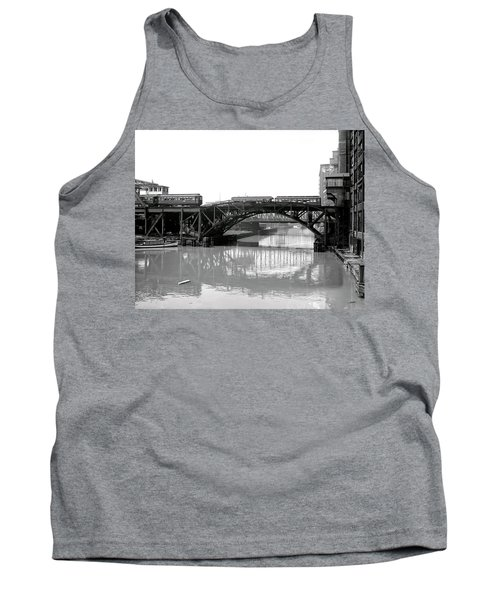 Tank Top featuring the photograph Trains Cross Jack Knife Bridge - Chicago C. 1907 by Daniel Hagerman