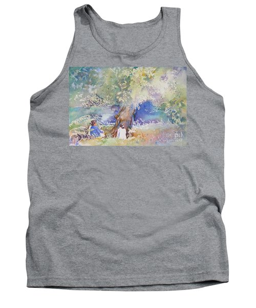 Tank Top featuring the painting Tranquility At The Brandywine River by Mary Haley-Rocks