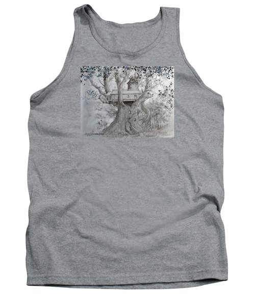 Tank Top featuring the drawing Tree House #2 by Jim Hubbard