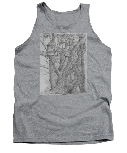 Tank Top featuring the drawing Tree House #3 by Jim Hubbard