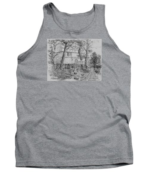 Tank Top featuring the drawing Tree House #5 by Jim Hubbard