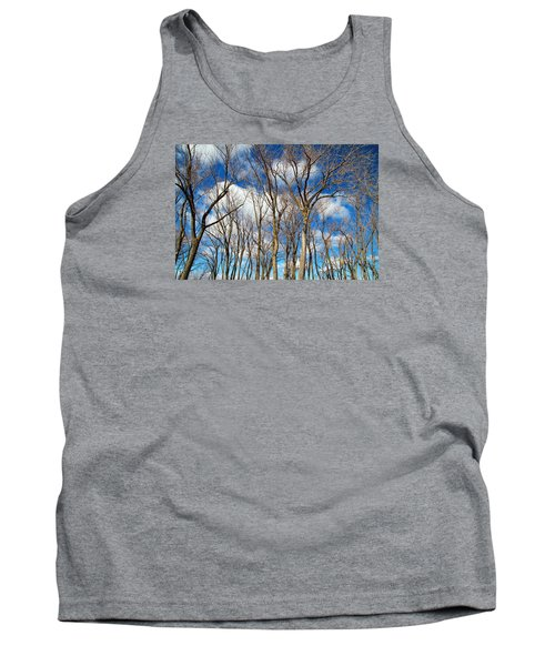 Tank Top featuring the photograph Trees And Clouds by Valentino Visentini
