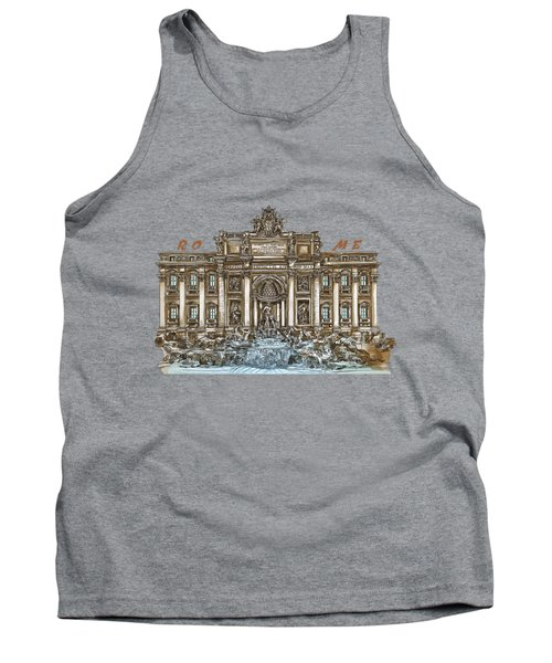 Tank Top featuring the painting  Trevi Fountain,rome  by Andrzej Szczerski