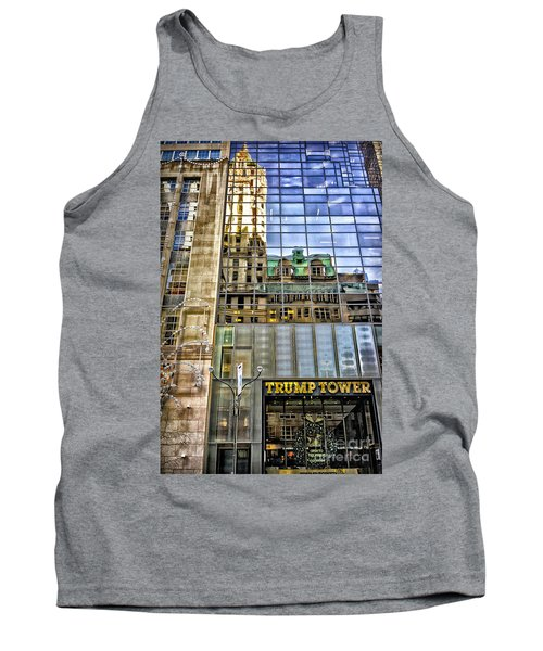Tank Top featuring the photograph Trump Tower With Reflections by Walt Foegelle