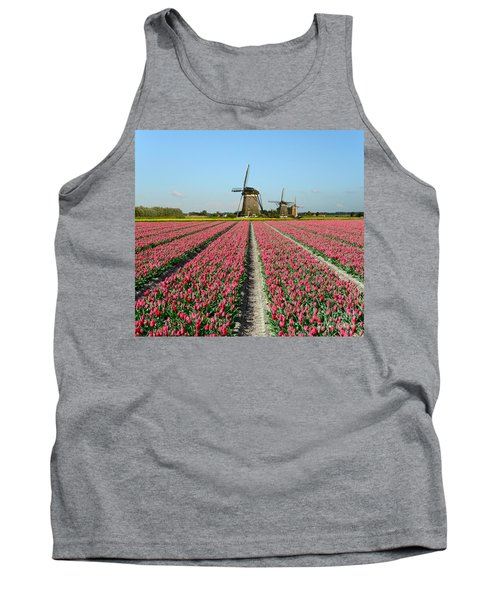 Tulips And Windmills In Holland Tank Top by IPics Photography