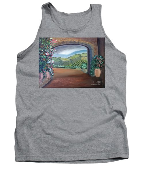Tuscany Vineyards Through The Archway Tank Top