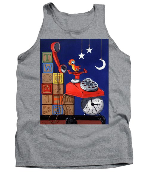 Tank Top featuring the painting Tweets -narrative Painting by Linda Apple