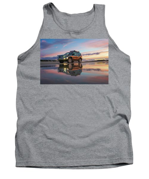Twilight Beach Reflections And 4wd Car Tank Top