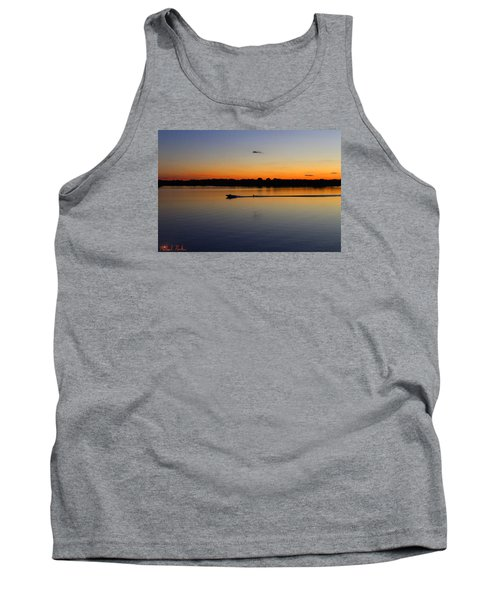 Tank Top featuring the photograph Twilight Water Skiing by Michael Rucker