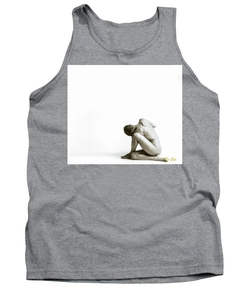 Tank Top featuring the photograph Twisted Figure On White by Rikk Flohr