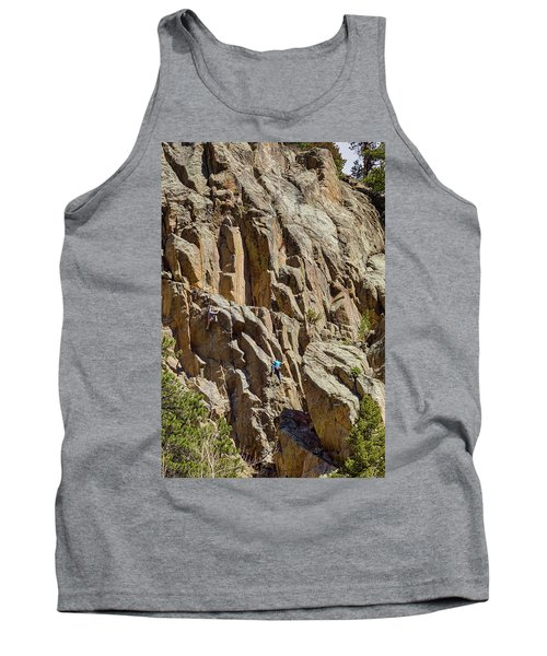 Tank Top featuring the photograph Two Rock Climbers Making Their Way by James BO Insogna