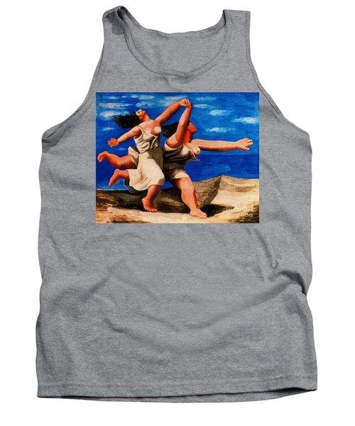 Two Women Running On The Beach Tank Top