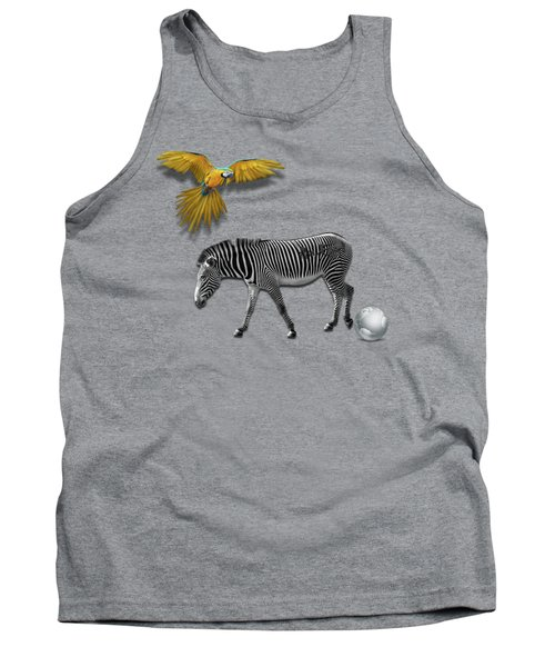 Two Zebras And Macaw Tank Top by iMia dEsigN