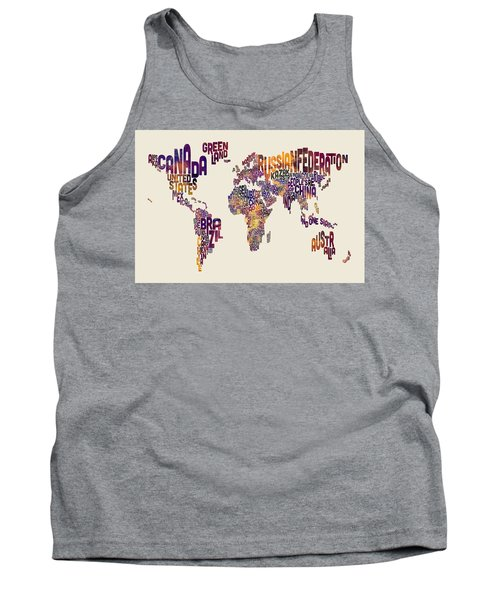 Typography Text Map Of The World Map Tank Top