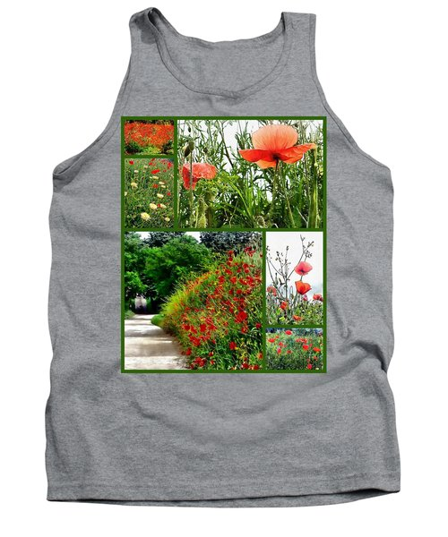 Umbrian Red Poppy Collage Tank Top