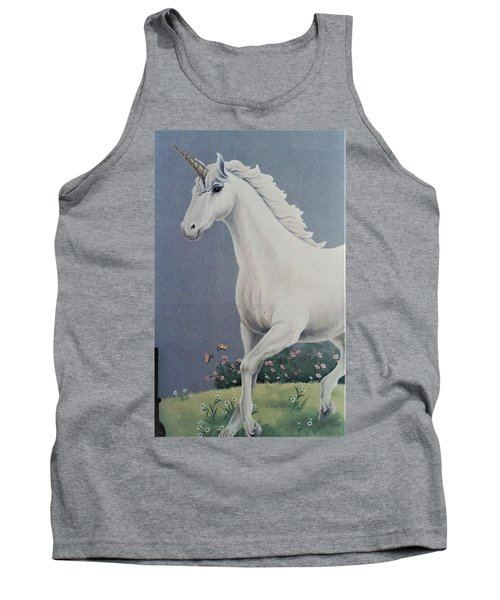 Unicorn Roaming The Grass And Flowers Tank Top