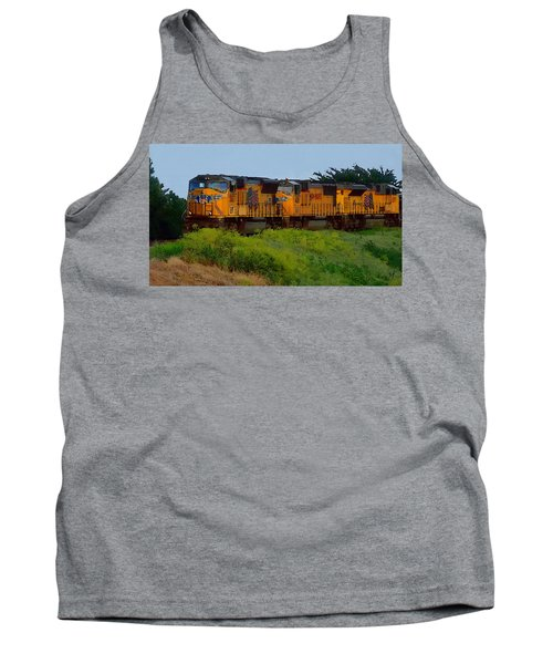 Tank Top featuring the digital art Union Pacific Line by Shelli Fitzpatrick