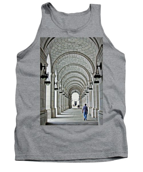 Tank Top featuring the photograph Union Station Exterior Archway by Suzanne Stout