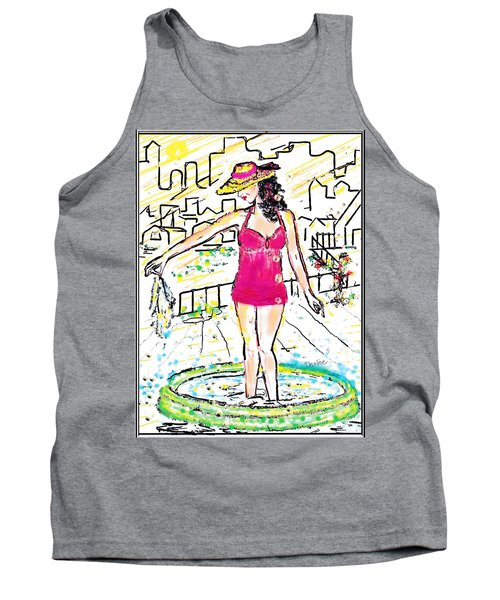 Tank Top featuring the digital art Urban Poolside by Desline Vitto