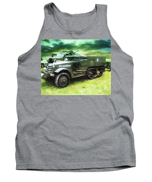 Tank Top featuring the painting U.s. Army Halftrack by Michael Cleere
