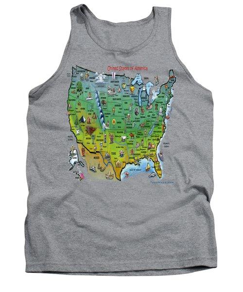 Usa Cartoon Map Tank Top