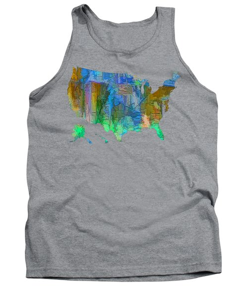 Usa - Colorful Map Tank Top