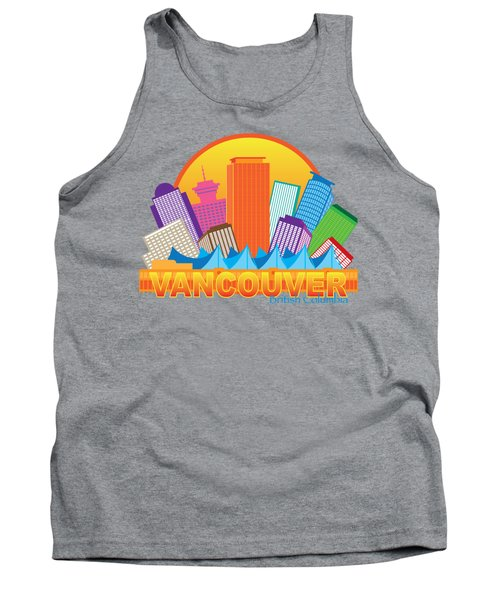 Vancouver Bc Canada Skyline Circle Color Illustration Tank Top by Jit Lim
