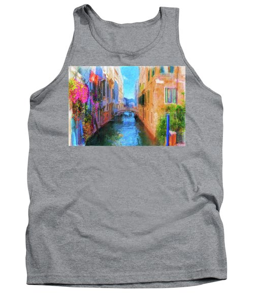 Venice Canal Painting Tank Top by Michael Cleere