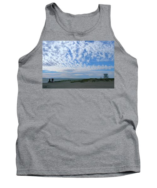Ventura Beach With Blue Sky And  Puffy Clouds Tank Top