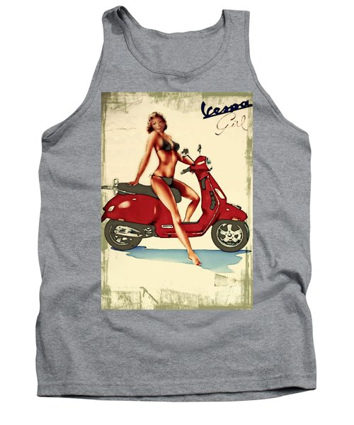 Vespa Girl - Vintage Poster Tank Top