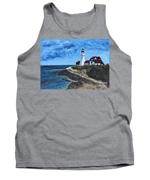 View From The North Portland Head Light Tank Top