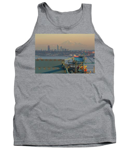 View Of Mount Baker And Vancouver Bc At Sunset Tank Top