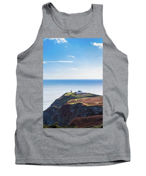 Tank Top featuring the photograph View Of The Trails On Howth Cliffs With The Lighthouse In Irelan by Semmick Photo