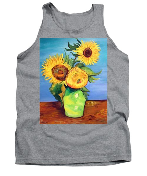Tank Top featuring the painting Vincent's Sunflowers by Patricia Piffath