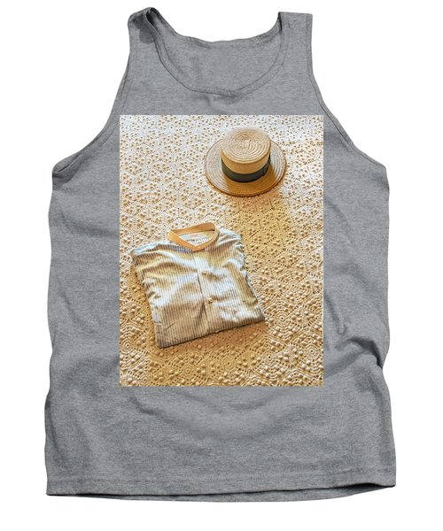 Tank Top featuring the photograph Vintage Golfer's Hat And Shirt by Gary Slawsky