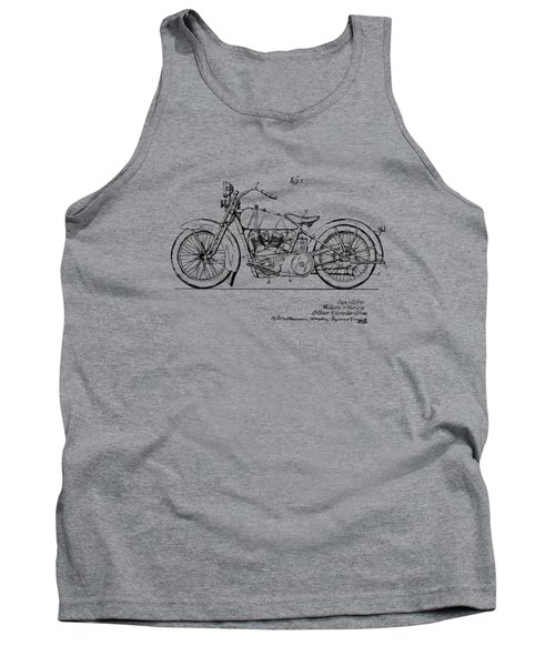 Tank Top featuring the digital art Vintage Harley-davidson Motorcycle 1928 Patent Artwork by Nikki Smith