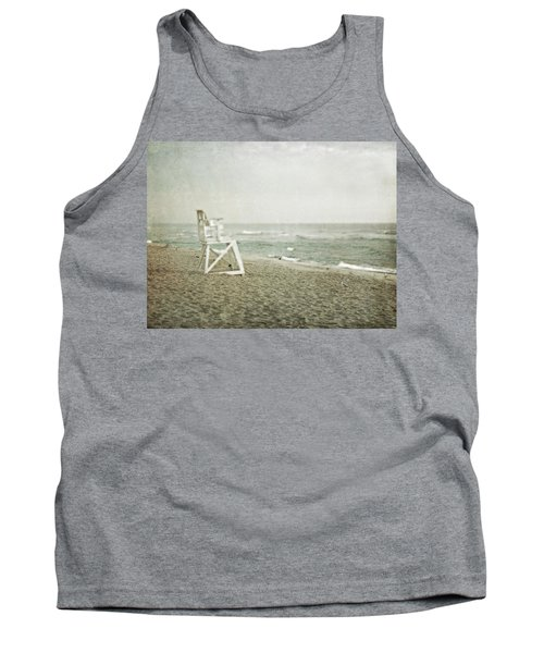 Vintage Inspired Beach With Lifeguard Chair Tank Top by Brooke T Ryan