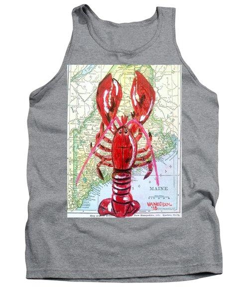 Vintage Map Maine Red Lobster Tank Top by Scott D Van Osdol