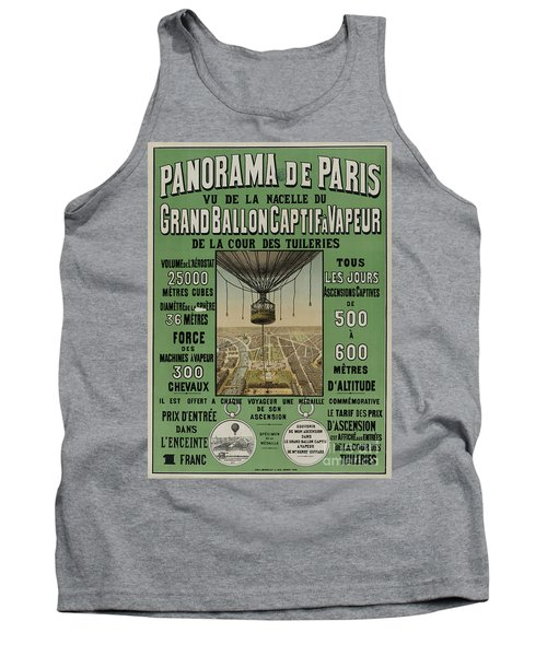 Tank Top featuring the photograph Vintage Poster Of Great Balloon View Of Paris 1878 by John Stephens