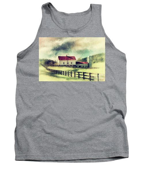 Tank Top featuring the digital art Vintage Red Roof Barn by Lois Bryan