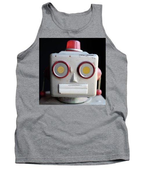 Vintage Robot Square Tank Top