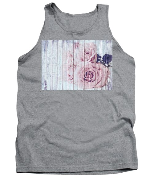 Vintage Shabby Chic Dusky Pink Roses On Blue Wood Effect Background Tank Top