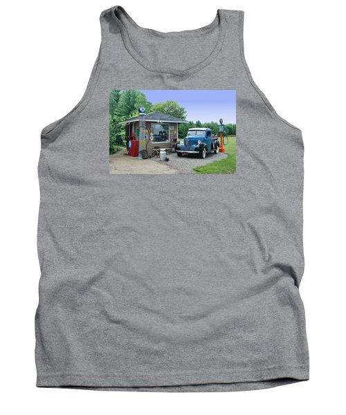 Tank Top featuring the photograph Vintage Truck And Filling Station by Judy  Johnson