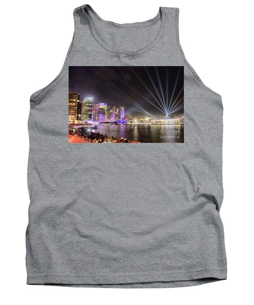 Tank Top featuring the photograph Vivid Sydney Skyline By Kaye Menner by Kaye Menner