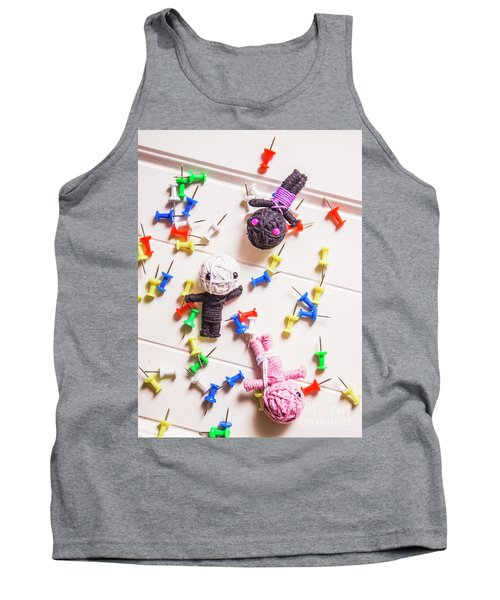 Voodoo Dolls Surrounded By Colorful Thumbtacks Tank Top
